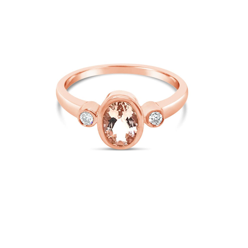 Morganite and diamond trilogy ring