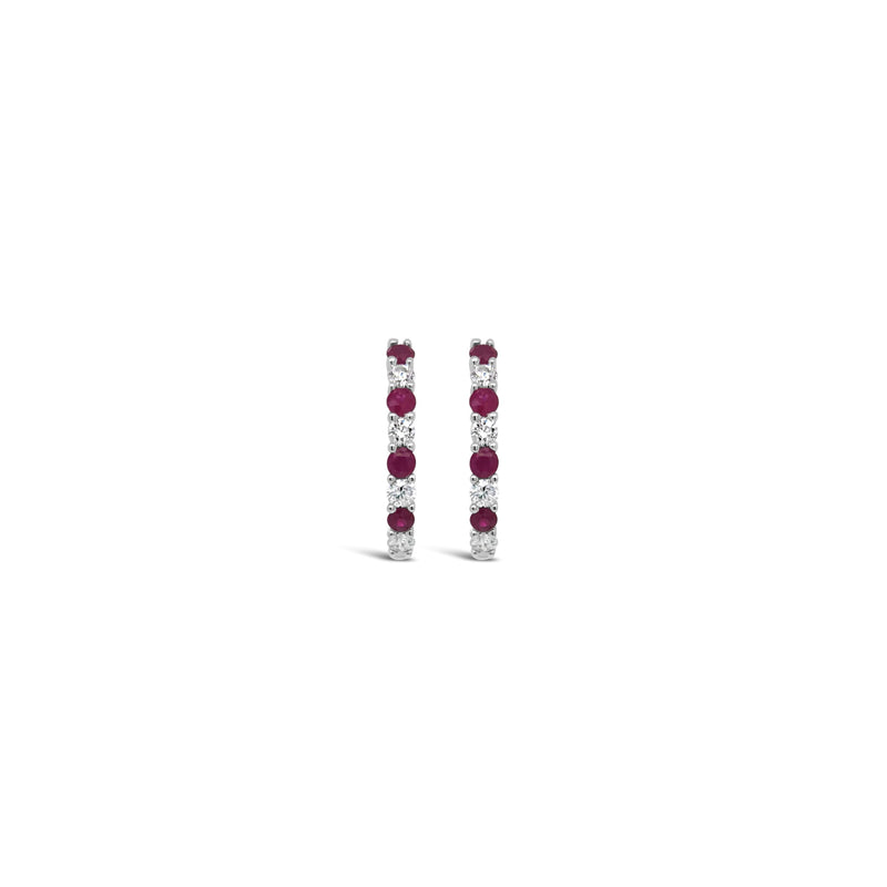 White gold diamond and ruby hoops - Duffs Jewellers