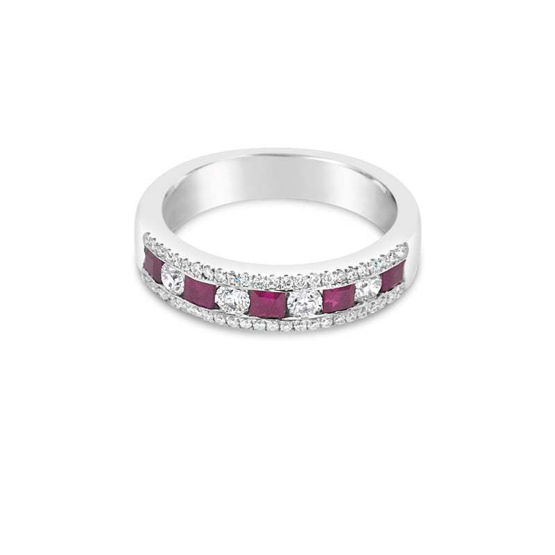 White gold Ruby and Diamond band - Duffs Jewellers