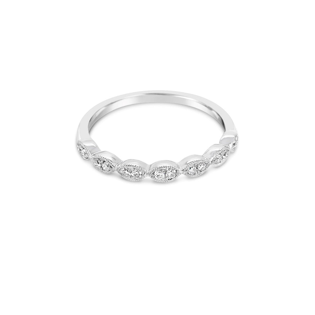 White gold marquise shape ring 0.12ctTDW