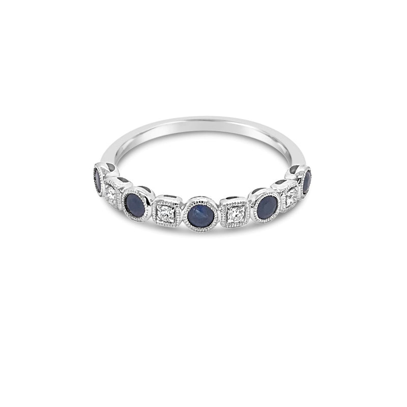 Alternating Diamond and Sapphire ring