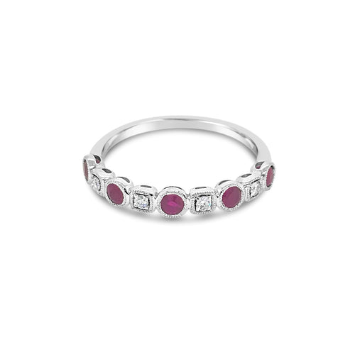 Alternating Diamond and Ruby ring - Duffs Jewellers