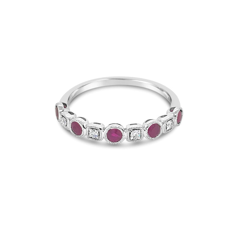 Alternating Diamond and Ruby ring