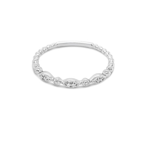 White gold alternating Round & Marquise Shapes Ring