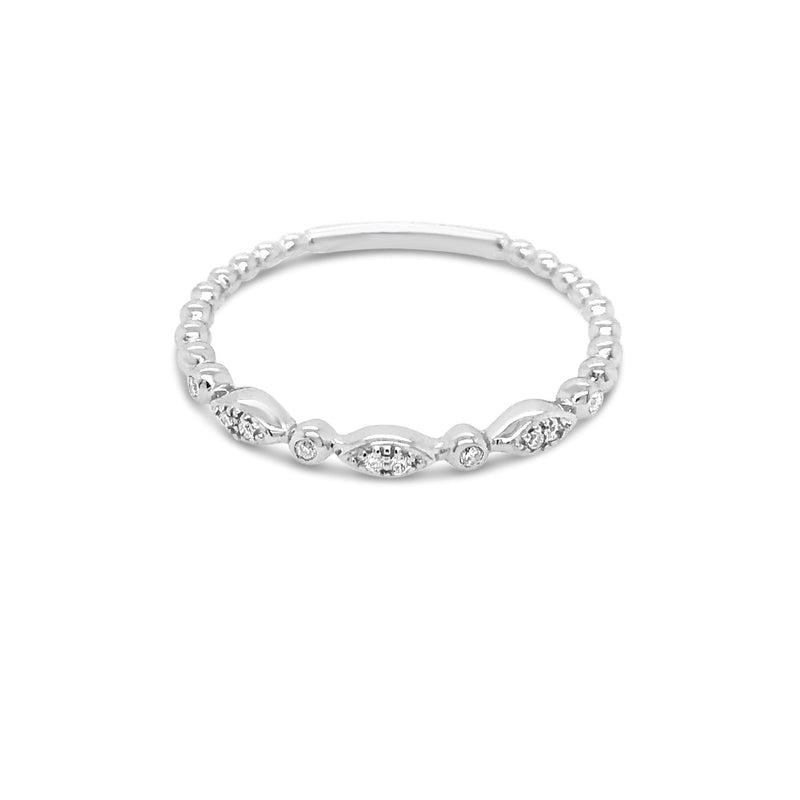 White gold alternating Round & Marquise Shapes Ring - Duffs Jewellers