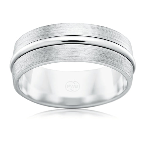9ct White Gold 7mm Fancy Wedding Ring - Duffs Jewellers