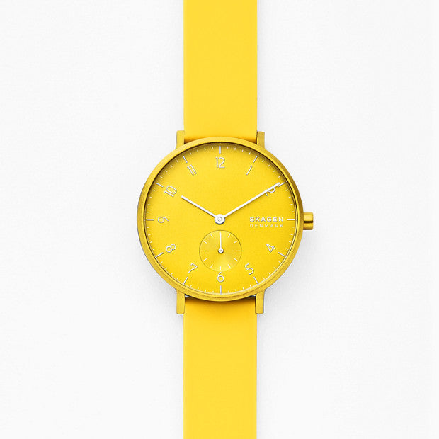 Skagen Aaren Yellow Analogue Watch - Duffs Jewellers