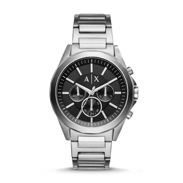 Armani Exchange Silver-Tone Chronograph Watch - Duffs Jewellers