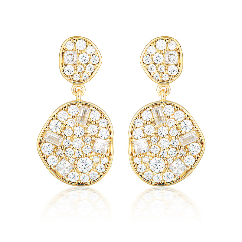 GEORGINI ANNA MOSAIC GOLD DROP EARRING