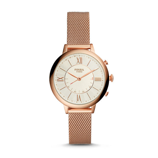 Fossil Q Jacqueline Rose Gold-Tone Hybrid Smartwatch - Duffs Jewellers
