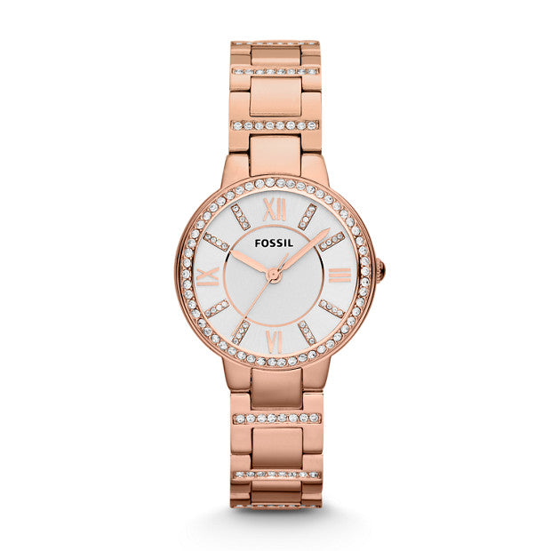 Fossil Virginia Rose Gold-Tone Analogue Watch - Duffs Jewellers