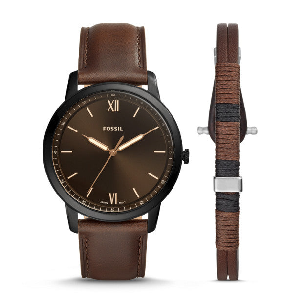 Fossil The Minimalist 3H Brown Analogue Watch - Duffs Jewellers