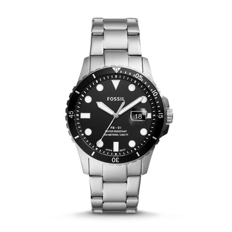 Fossil Fb-01 Silver-Tone Analogue Watch