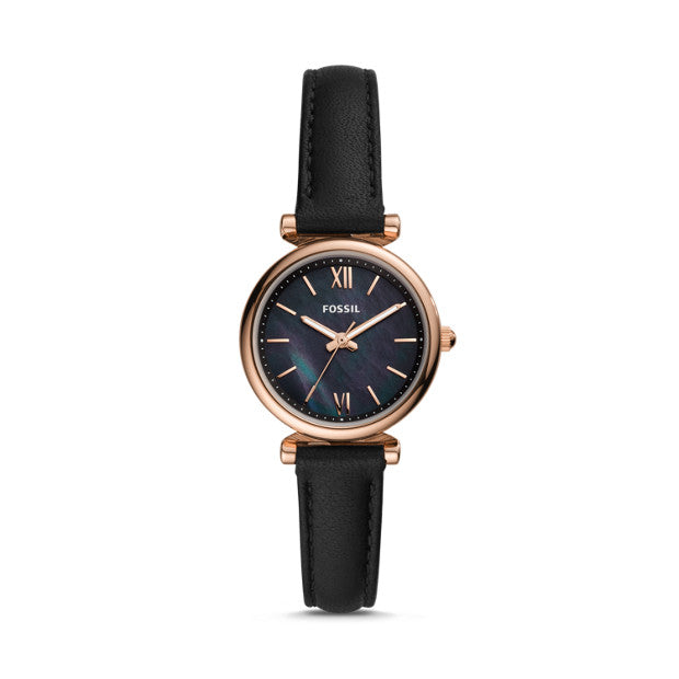 Fossil Carlie Mini Black Analogue Watch - Duffs Jewellers