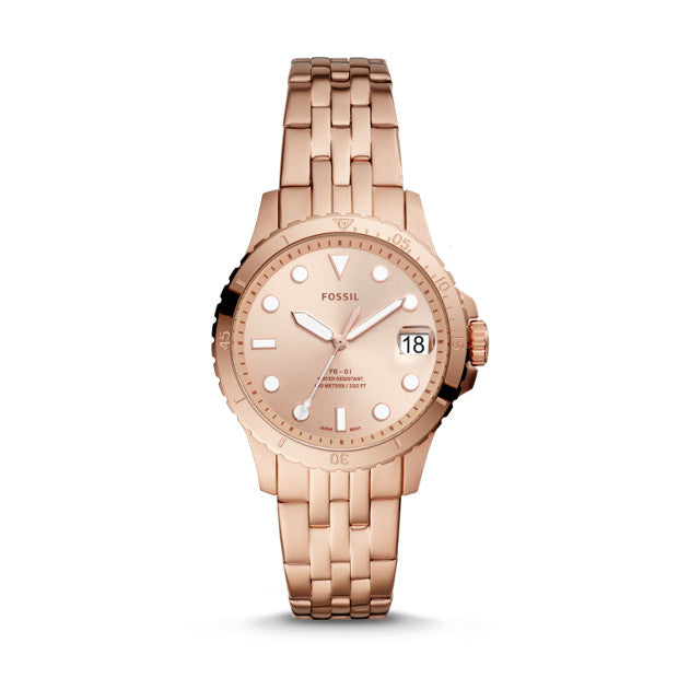 Fossil FB-01 Rose Gold-Tone Analogue Watch - Duffs Jewellers