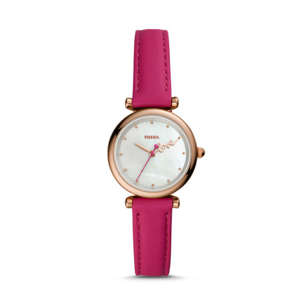 Fossil Carlie Mini Pink Analogue Watch - Duffs Jewellers