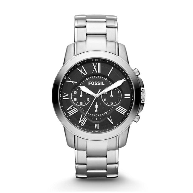 Fossil GRANT Silver-Tone Chronograph Watch - Duffs Jewellers