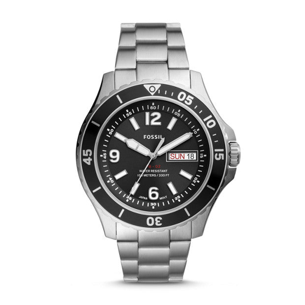 Fossil FB-02 Silver-Tone Analogue Watch - Duffs Jewellers