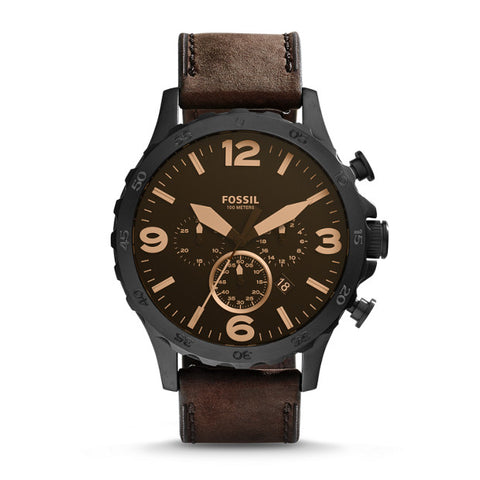 Fossil Nate Dark Brown Chronograph Watch