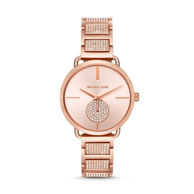 Michael Kors Portia Rose Gold-Tone Chronograph Watch - Duffs Jewellers