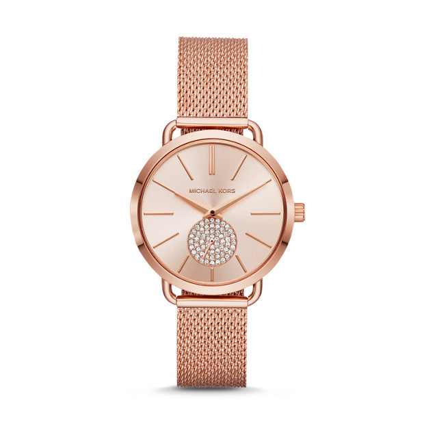 Michael Kors Portia Rose Gold-Tone Analogue Watch - Duffs Jewellers