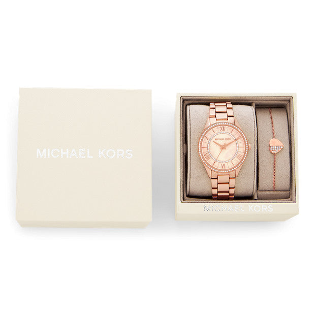 Michael Kors Lauryn Rose Gold-Tone Analogue Watch - Duffs Jewellers