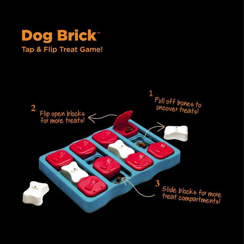 Dog Brick Tap & Flip Treat Puzzle Toy