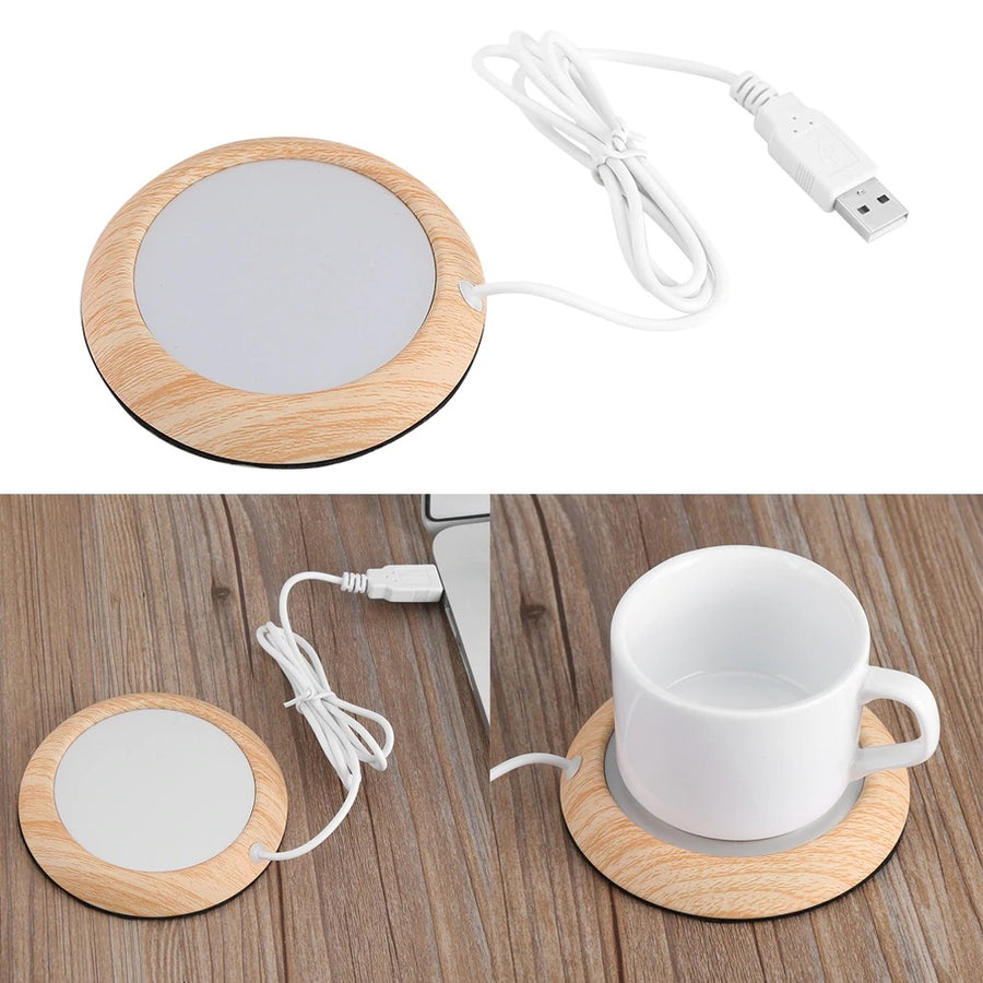 USB Wood Grain Cup Warmer Heat Beverage Mug Mat