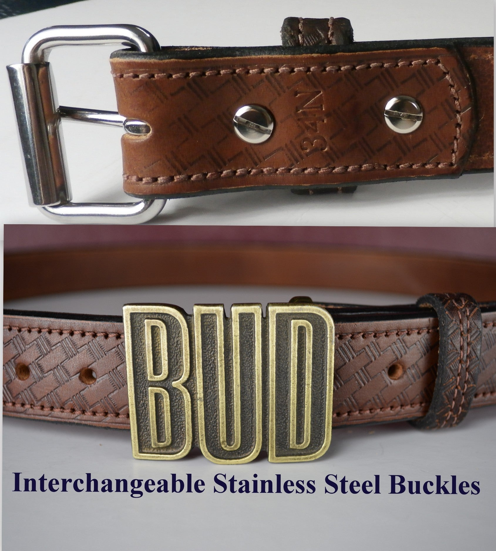 SALE Leather Men/'s Belt with Removable Stainless Steel Buckle Brown Basket Weave