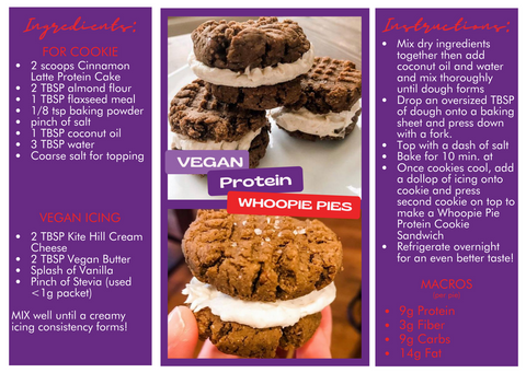 whoopie pies that are vegan and gluten free, plus have 9g of protein per pie