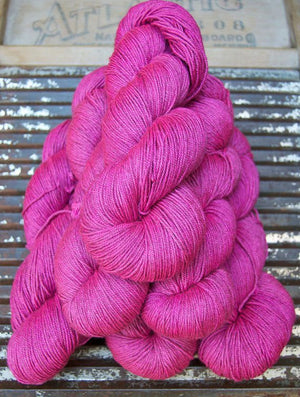 NEW! BEYUL - sw Merino/ Baby Yak / Silk fingering ...'Electric Amaranth' - heathered vibrant pink by Kettle yarn Co.