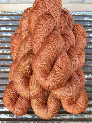 NEW! BEYUL - sw Merino/ Baby Yak / Silk fingering ...'Sacred Saffron' - heathered rich orange by Kettle yarn Co.