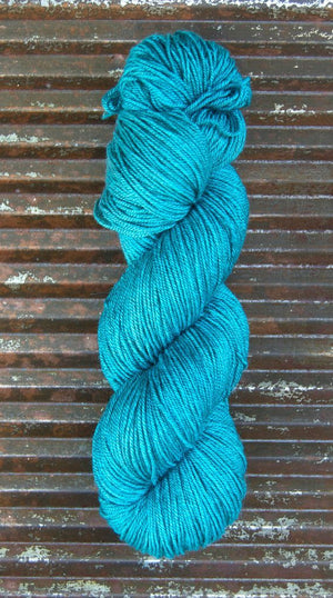NEW! BEYUL - sw Merino/ Baby Yak / Silk fingering ...'Turquoise Tarn' - heathered rich turquoise by Kettle Yarn Co.