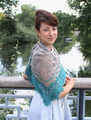 Naloa Shawl Kit - 2 skeins of BEYUL - sw Merino/ Baby Yak / Silk fingering by Kettle Yarn Co.