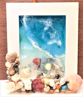 Beach Scene Resin Art with Seashell Frame