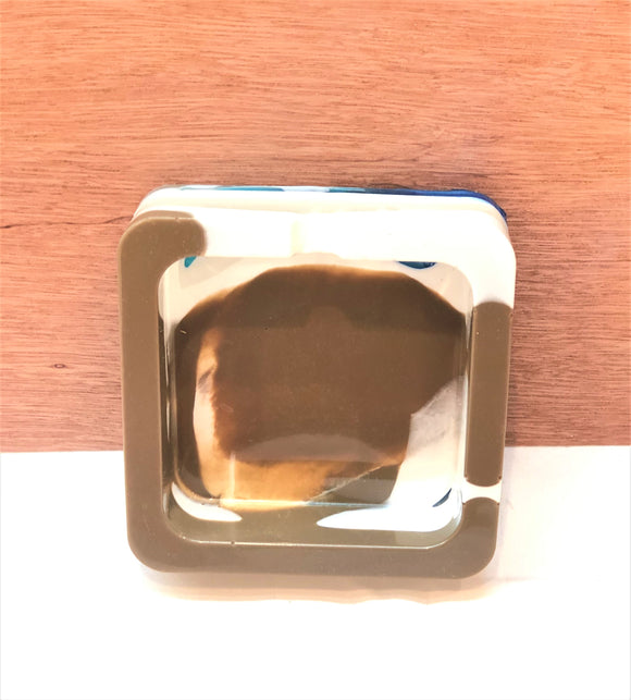 Square White Brown and Blue Trinket/Ashtray