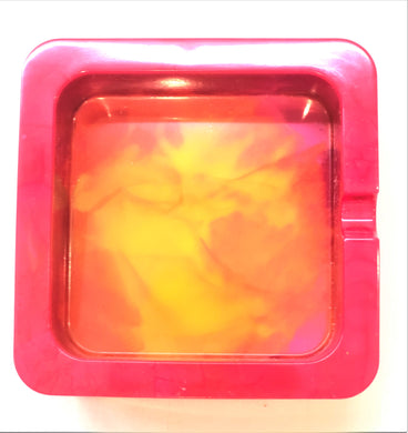 Square Red Yellow and Pink Trinket/Ashtray