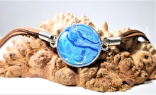 Load image into Gallery viewer, Acrylic Pour Skin with Resin Dome / Silver Pendant - Leather Bracelet