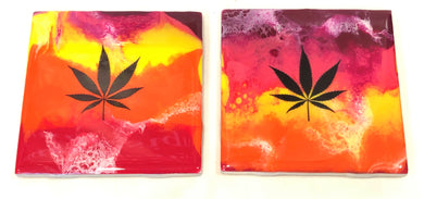 Tile Coasters - Red Yellow Orange with MJ Leaf