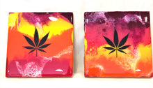 Load image into Gallery viewer, Tile Coasters - Red Yellow Orange with MJ Leaf