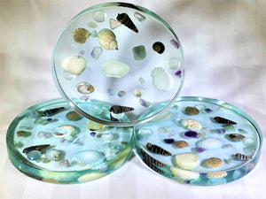 Large Round Coasters with Seashells