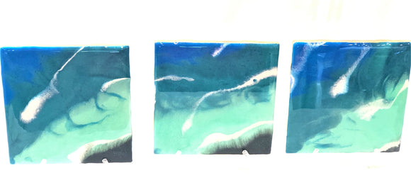 Tile Coasters - Blue Waters with Black Sand