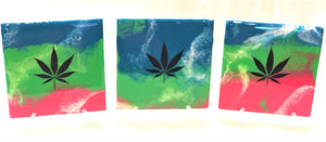 Tile Coasters - Pink Green Purple with MJ Leaf