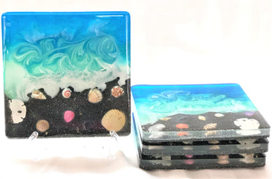 Large Square Beach Coasters with Black Sand and Shells
