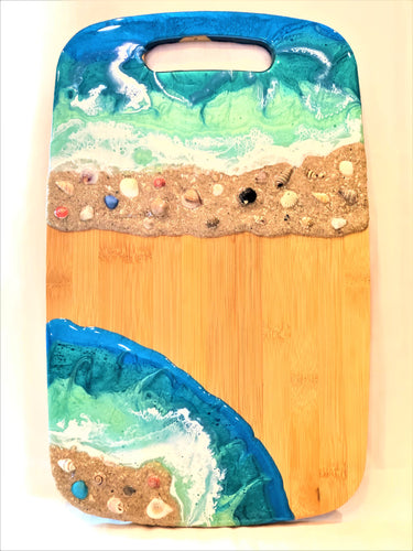 Cutting Board Large - Bamboo with Double Beach Scene
