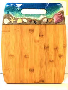 Cutting Board Extra Large - Bamboo with Beach Scene