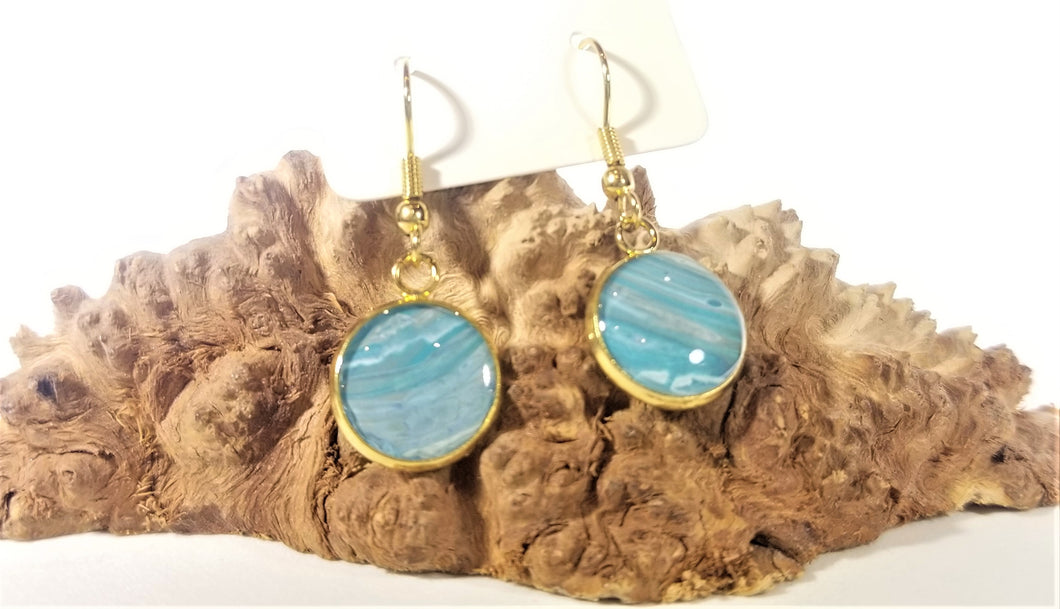 Acrylic Pour Skin with Resin Dome / Gold Wire Hook Earrings
