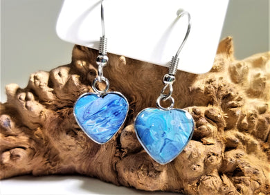 Acrylic Pour Skin with Resin Dome / Silver Wire Hook Heart Earrings