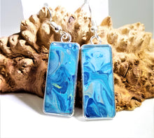 Load image into Gallery viewer, Acrylic Pour Skin with Resin Dome / Silver Tray Wire Hook Earrings
