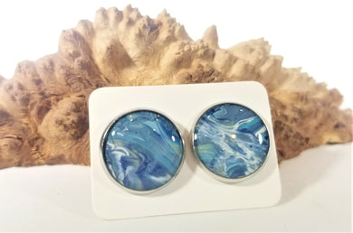 Acrylic Pour Skin with Resin Dome / Silver Stud Earrings